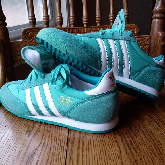Adidas teal green dragon shoe's